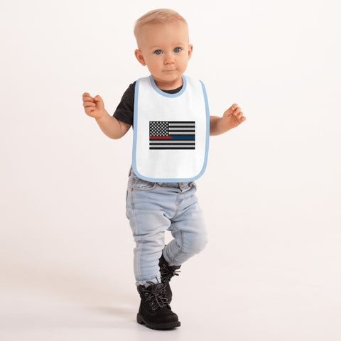 American Flag Blue And Red Stripe Embroidered Baby Bib - PoliticHell