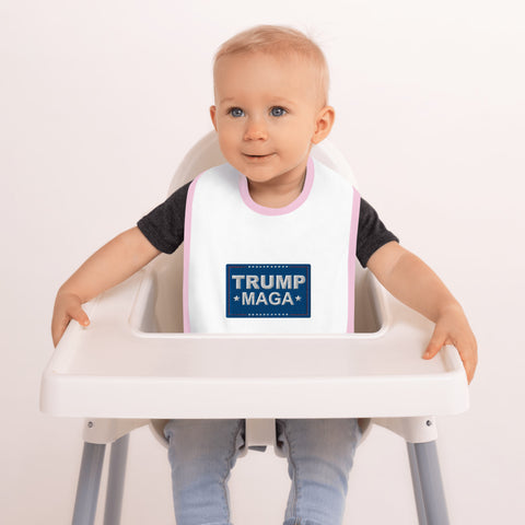 Trump MAGA Embroidered Baby Bib - PoliticHell