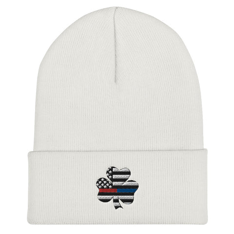 American Flag Clover Blue And Red Stripe Cuffed Beanie - PoliticHell