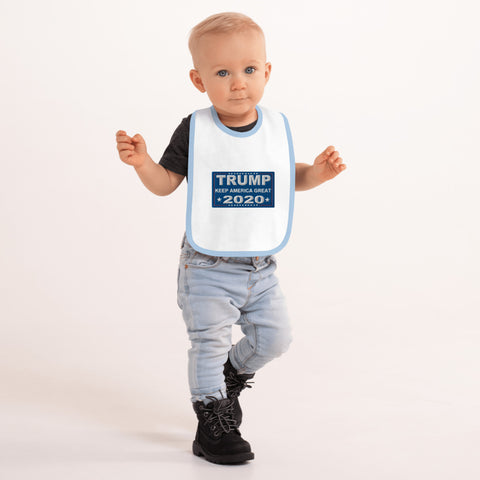 Trump Keep America Great 2020 Embroidered Baby Bib - PoliticHell