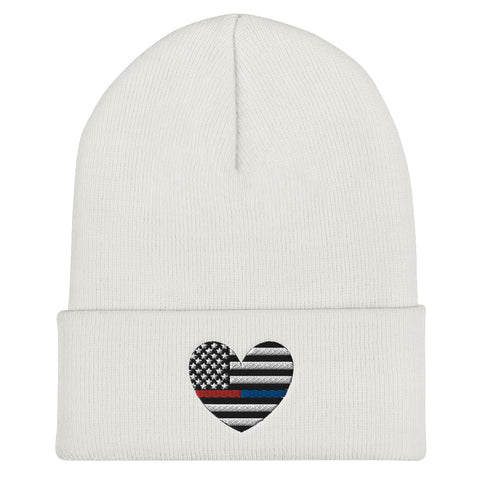 American Flag Heart Blue And Red Stripe Cuffed Beanie - PoliticHell