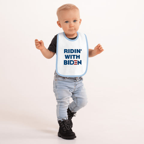 Ridin With Biden Embroidered Baby Bib - PoliticHell