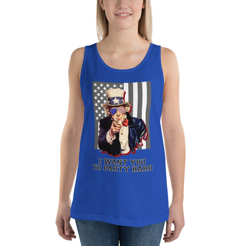 Uncle Sam I Want You To Party Hard Unisex Tank Top - PoliticHell