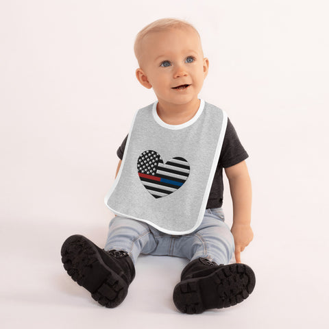 American Flag Heart Blue And Red Stripe Embroidered Baby Bib - PoliticHell
