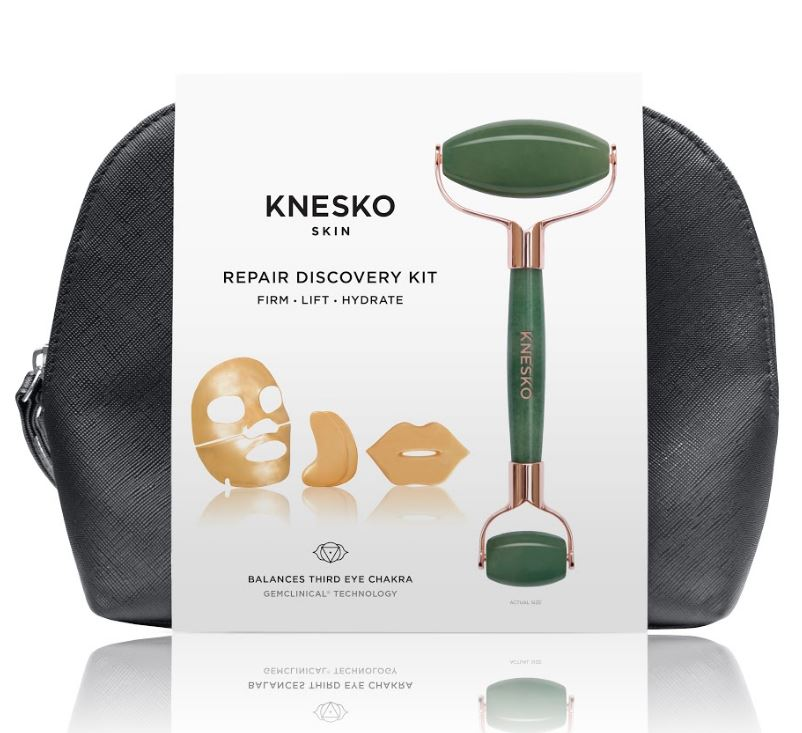 Nanogold Repair Collagen Mask and Green Jade Gemstone Roller Set
