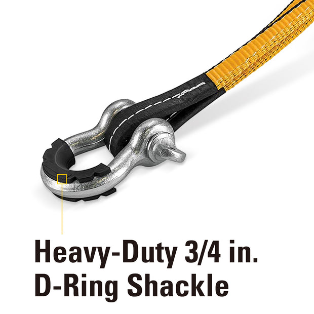 20 foot x 2-inch Tow Strap with D-Ring Shackle 9,000 Lb Capacity