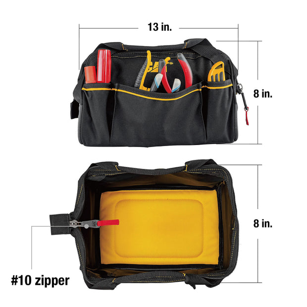13 inch Widemouth Tool Bag High Visibility Interior 600D Polyester