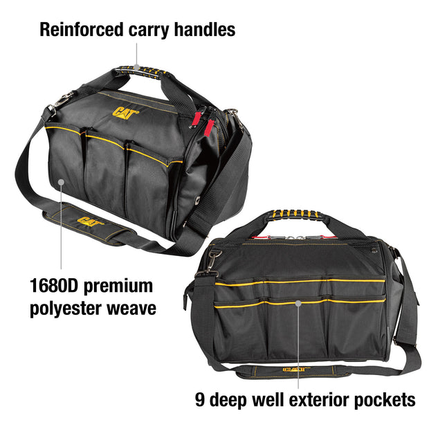 16 in. Pro Widemouth Tool Bag 18 Pocket Heavy Duty 1680D Polyester