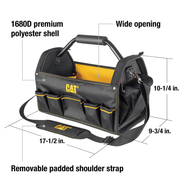 17 in. Pro Tool Tote Steel Handle 15 Pocket HD 1680D Polyester