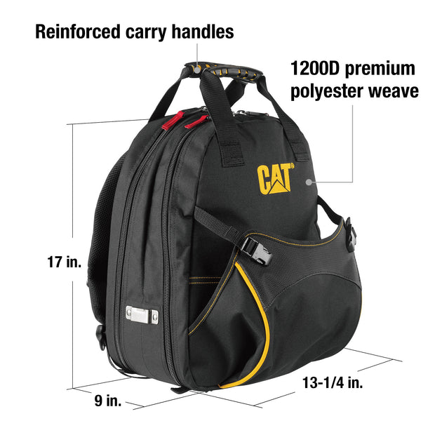 17 in. Pro Tool Backpack 47 Pockets Heavy Duty 1680D Polyester