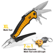 2 Piece XL Multi Tool and Key chain with Light Gift Set