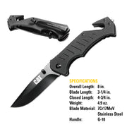 8 in. Drop-Point Folding Knife with Glass Break and Belt Cutter