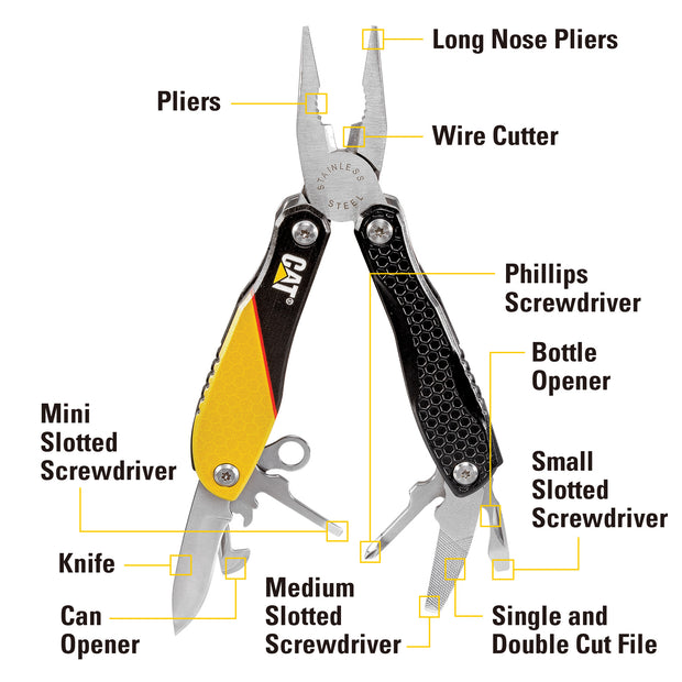 Cat 12-in-1 Multi-Pliers Stainless Steel Multi-Tool Aluminum Handles-980057