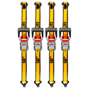 4 Piece 16 Ft. Heavy Duty Ratcheting Tie Down Straps - 800 Lb.