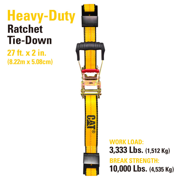 27 Ft. Ratcheting Truck Tie Down Strap Flat Hook - 3333 Lb.