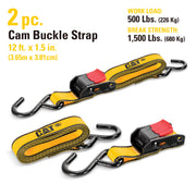 2 Piece 12 Ft. Cambuckle Tie-Down Straps - 500 Lb.