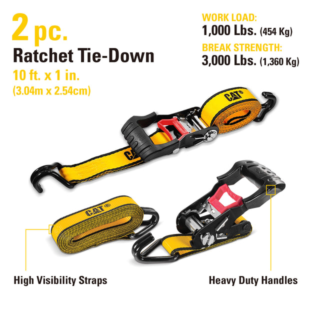 2 Piece 10 Ft. Heavy Duty Ratcheting Tie Down Straps - 1000 Lb.