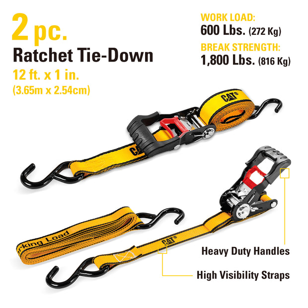 2 Piece 12 Ft. Heavy Duty Ratcheting Tie Down Straps - 600 Lb.