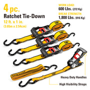 4 Piece 12 Ft. Heavy Duty Ratcheting Tie Down Straps - 600 Lb.