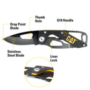 5-1/4 in. Folding Skeleton Knife with Black Stainless Steel Blade