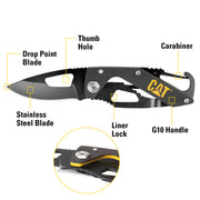 5-1/4 Inch Folding Skeleton Knife with Carabiner and Black Blade