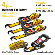 4 Piece 16 Ft. Heavy Duty Ratcheting Tie Down Straps - 1000 Lb.