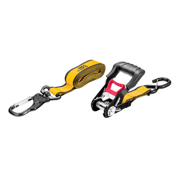 2 Piece Ratchet Tie Down Set with Swivel Hook - 16 Feet x 1-1/2 Inches (1000/3000)