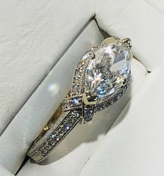 14Kt. White Gold Marquis Diamond Engagement Rin