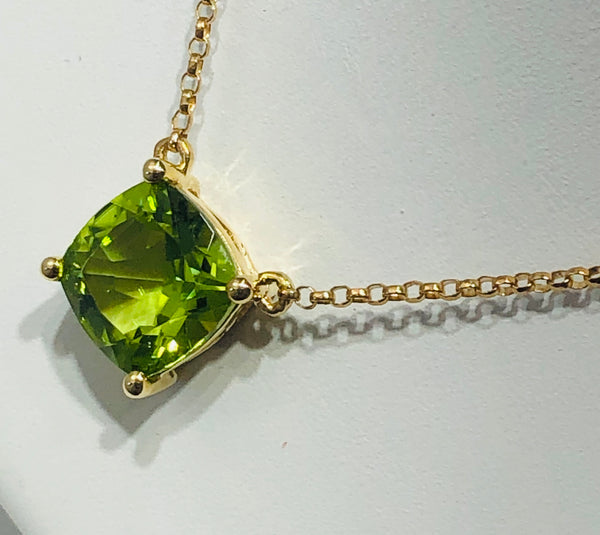 14Kt. Yellow Gold Peridot and Diamond Pendant