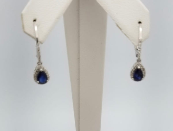 14Kt. White Gold Sapphire & Diamond Earrings