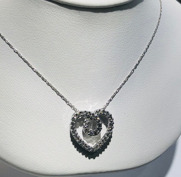10Kt. White Gold Diamond Heart Pendant