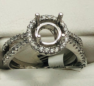 18Kt. White Gold Semi Mounting with Halo and Split shank