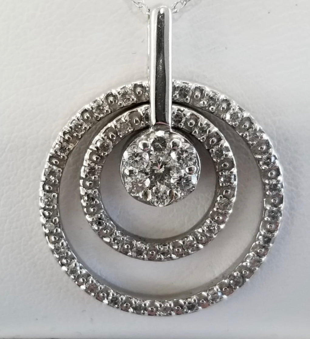 14Kt. White Gold Multi Circle Diamond Necklace