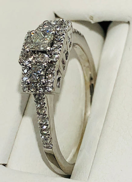 14Kt. White Gold 3 Princess Halo Diamond Engagement Ring