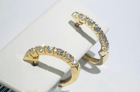14Kt. Yellow Gold Diamond Huggie Earrings