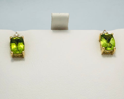 14Kt. Yellow Gold Peridot and Diamond Earrings