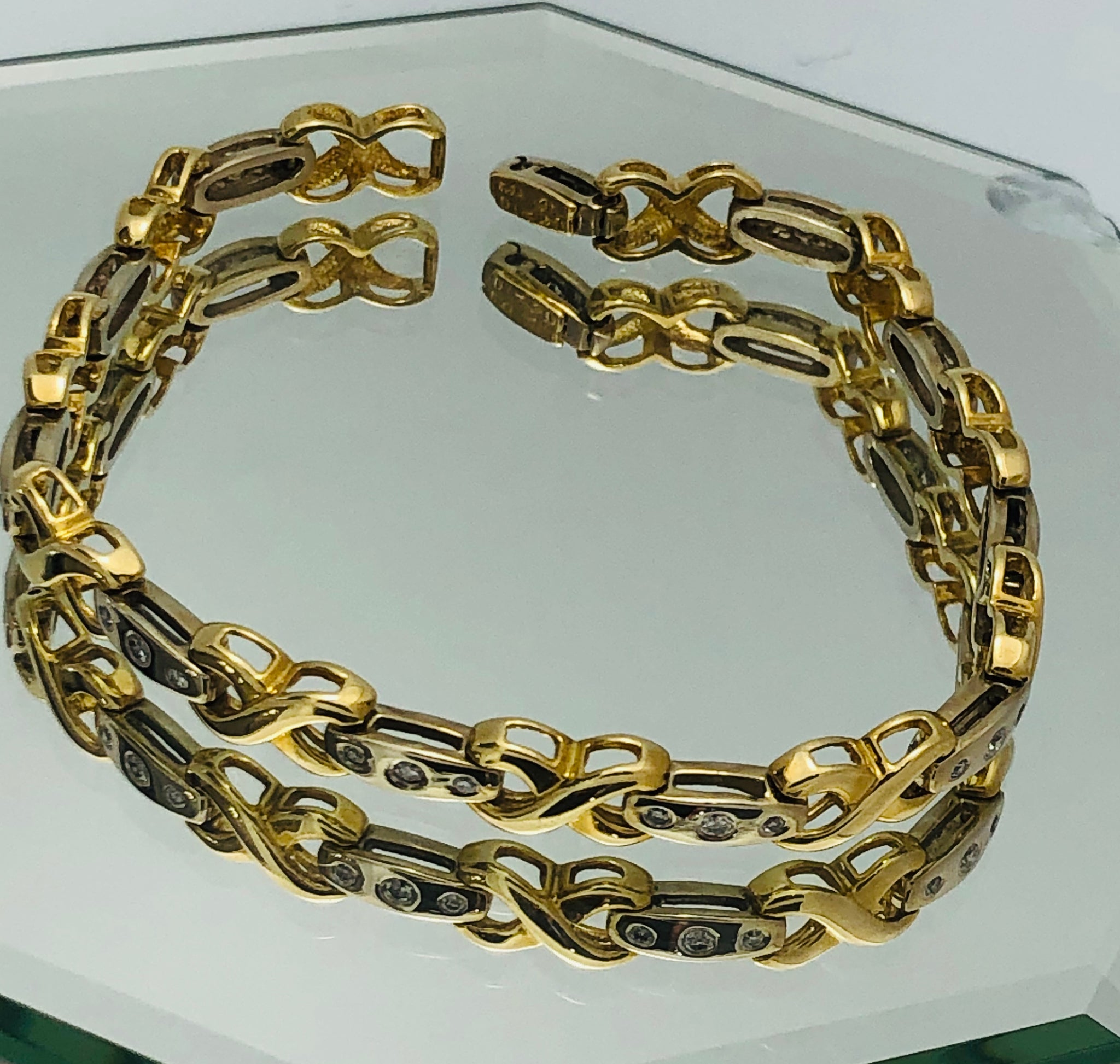 14Kt. Two Tone Gold Diamond Tennis Bracelet