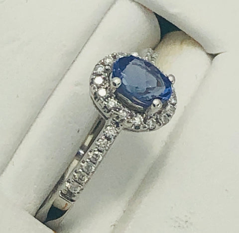 14 Kt. White Gold Tanzanite and Diamond Ring