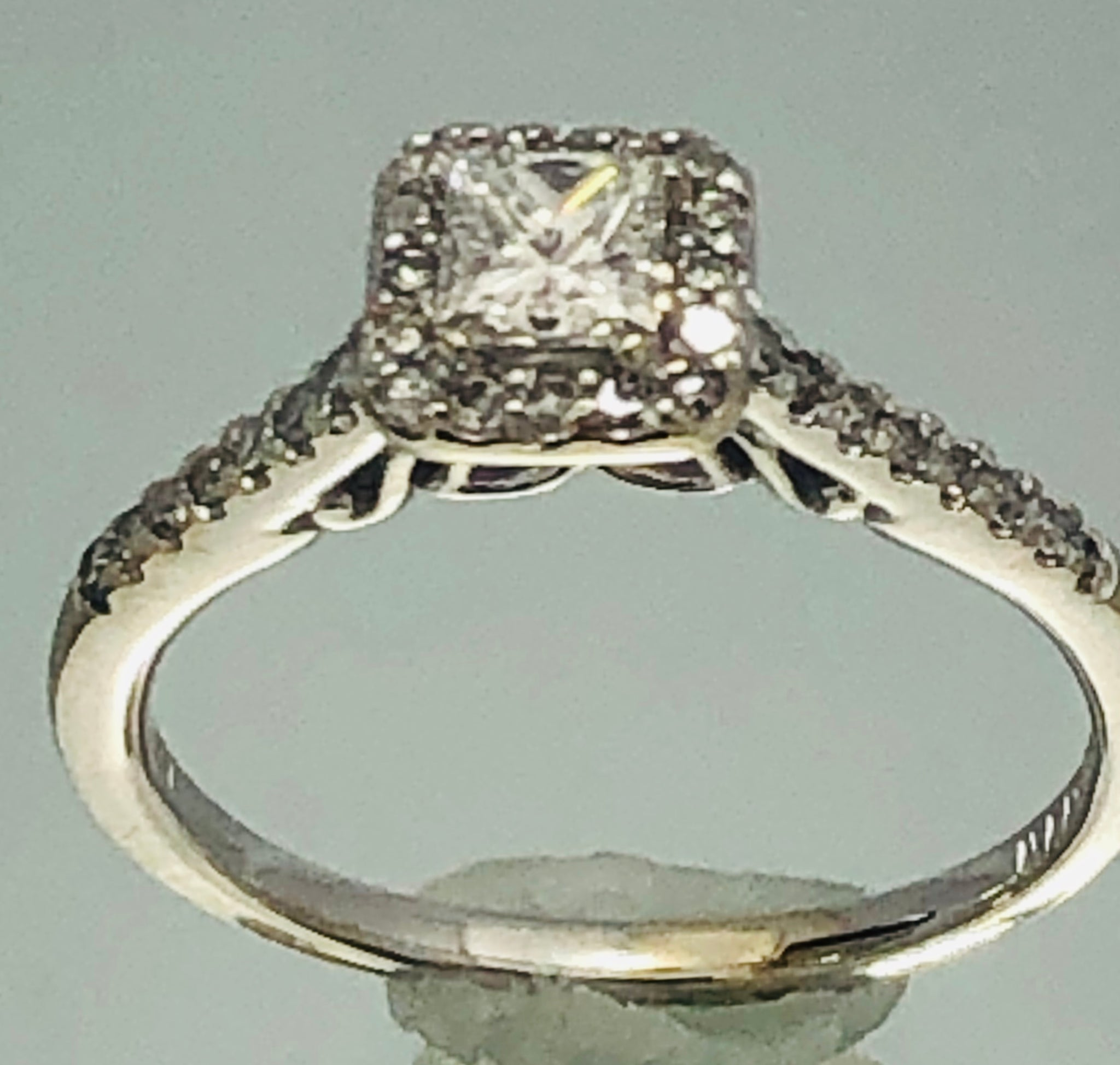 14Kt. White Gold princess engagement ring