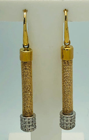 14Kt. Yellow Gold Diamond Dangle Spring Earrings