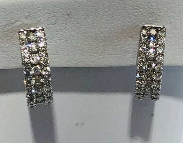 14Kt. White Gold Diamond Huggie Earrings