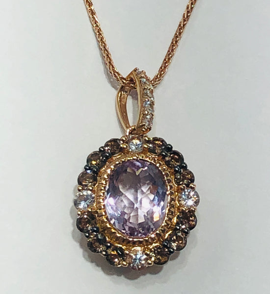 14 Kt. Rose Gold Color Levian Gem Pendant Necklace