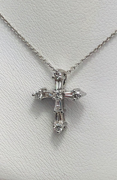 14Kt. White Gold Diamond Fashion Cross Pendant