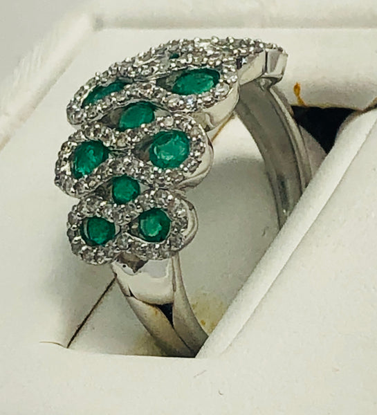 14 Kt. White Gold Emerald and Diamond Fashion Ring