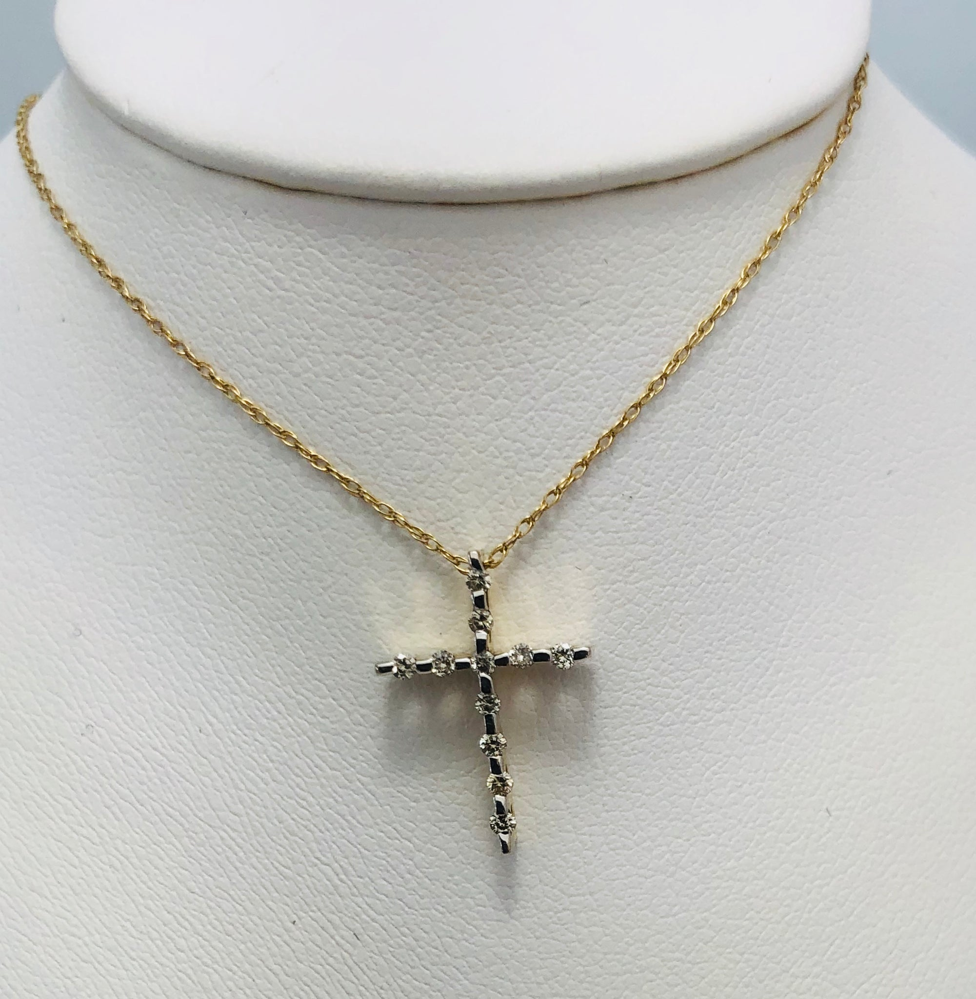 14Kt. Yellow Gold Diamond Cross Pendant