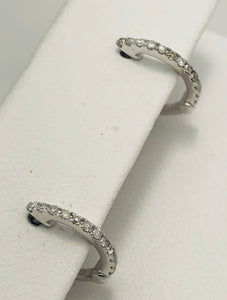 14Kt. White Gold Diamond Hoop Huggies Earrings