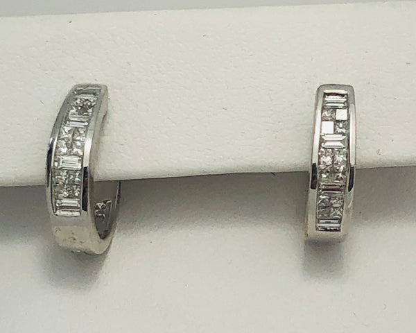 14Kt. White Gold Diamond Hoop Earrings