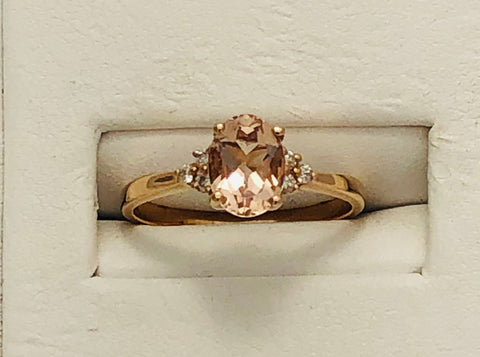 14Kt. Rose Gold Morganite and Diamond Ring