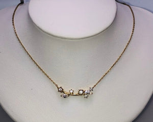 14Kt. Yellow Gold CZ Flower Necklace
