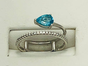 14Kt. White Gold Blue Apatite and Diamond Ring